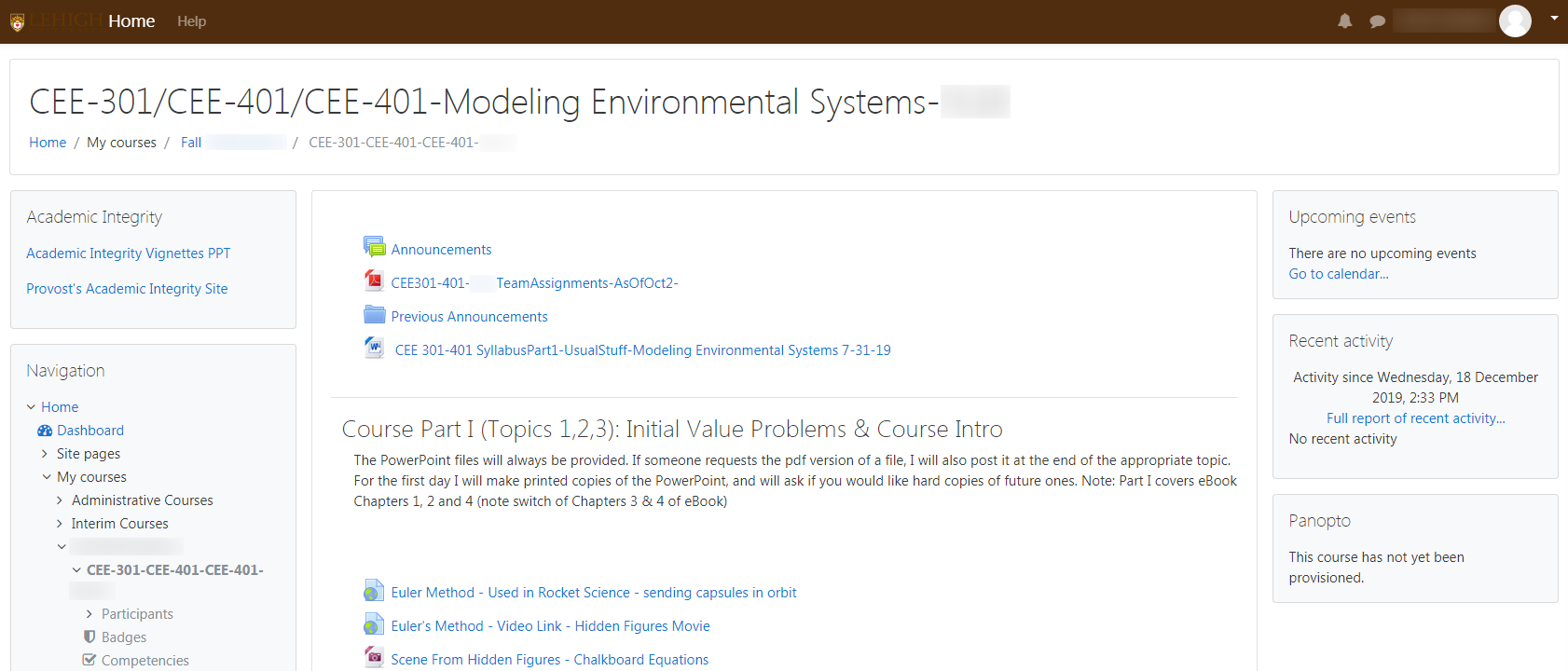 Screenshot of new Course Site theme showing course overview