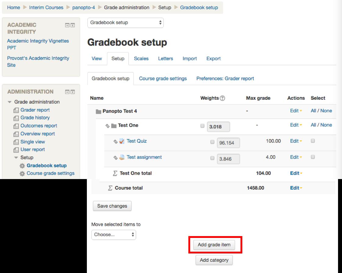 click on add grade item at the bottom of the gradebook