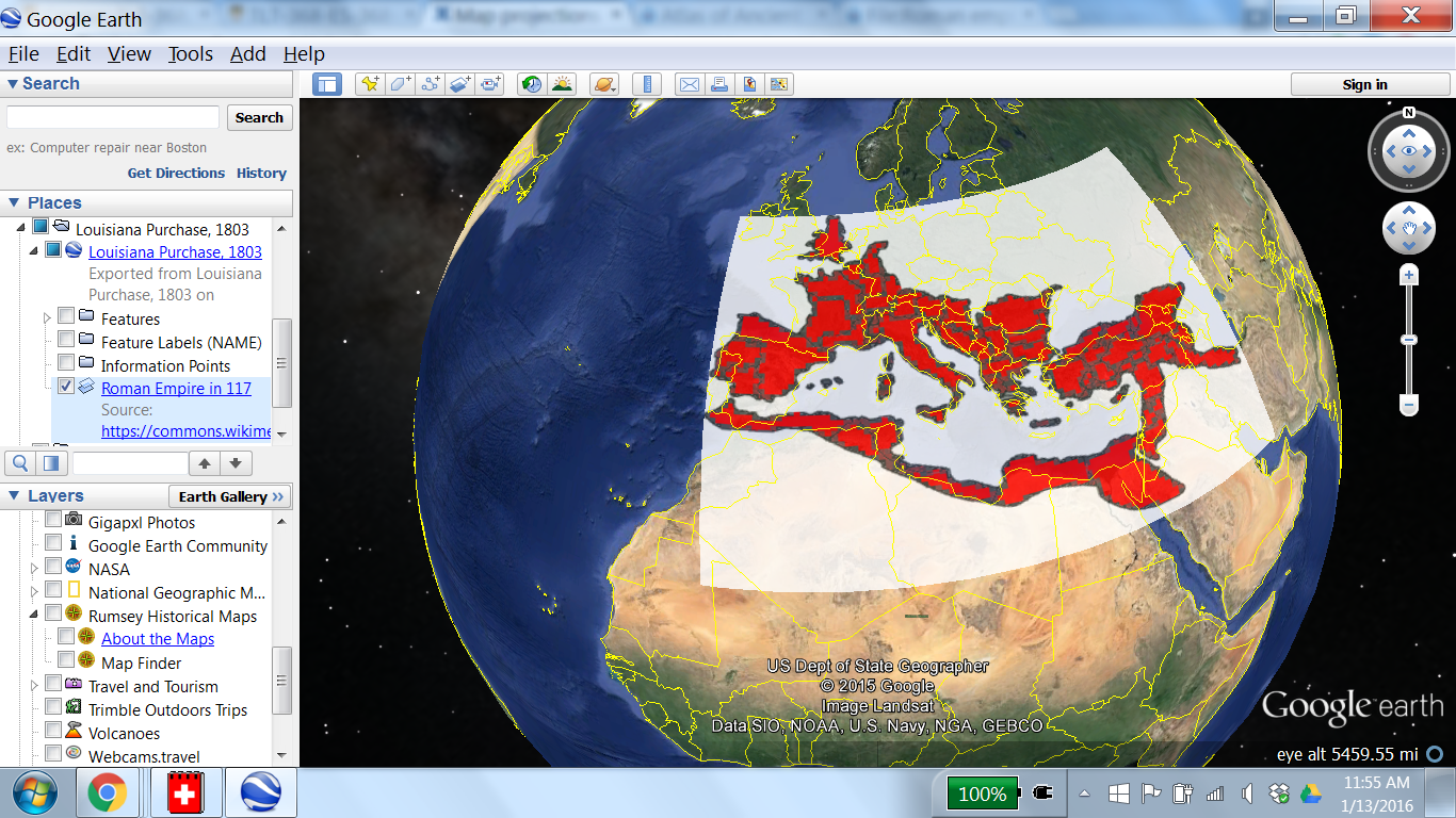 Map projections tom hammond lehigh confluence image of roman empire circa 117 stretched over google earth i made things match up closely for the italian peninsulabut that means that other areas gumiabroncs Choice Image